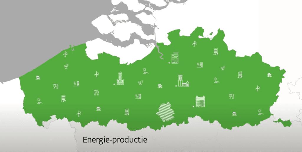 kaart van de milieuvriendelijke energieproductie in Vlaanderen